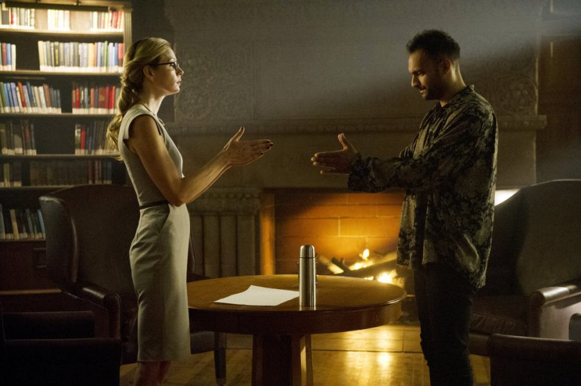 "THE MAGICIANS -- ""Hotel Spa Potions"" Episode 202 -- Pictured: (l-r) Anne Dudek as Prof. Pearl Sunderland, Arjun Gupta as Penny -- (Photo by: Carole Segal/Syfy)"