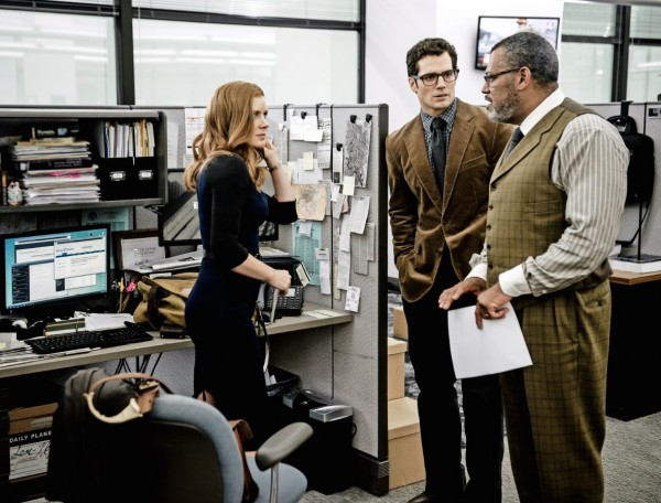 From left to right: Amy Adams, Henry Cavill, Laurence Fishburne