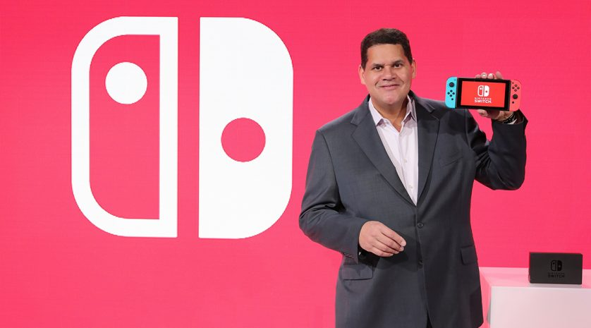 NEW YORK, NY - JANUARY 13:  In this photo provided by Nintendo of America, Nintendo of America President and COO Reggie Fils-Aime debuts the groundbreaking Nintendo Switch at a press event in New York on Jan. 13, 2017. Launching in March 3, 2017,  Nintendo Switch combines the power of a home console with the mobility of a handheld. It's a new era in gaming that delivers entirely new ways to play wherever and whenever people want. (Photo by Neilson Barnard/Getty Images for Nintendo of America) *** Local Caption *** Reggie Fils-Aime