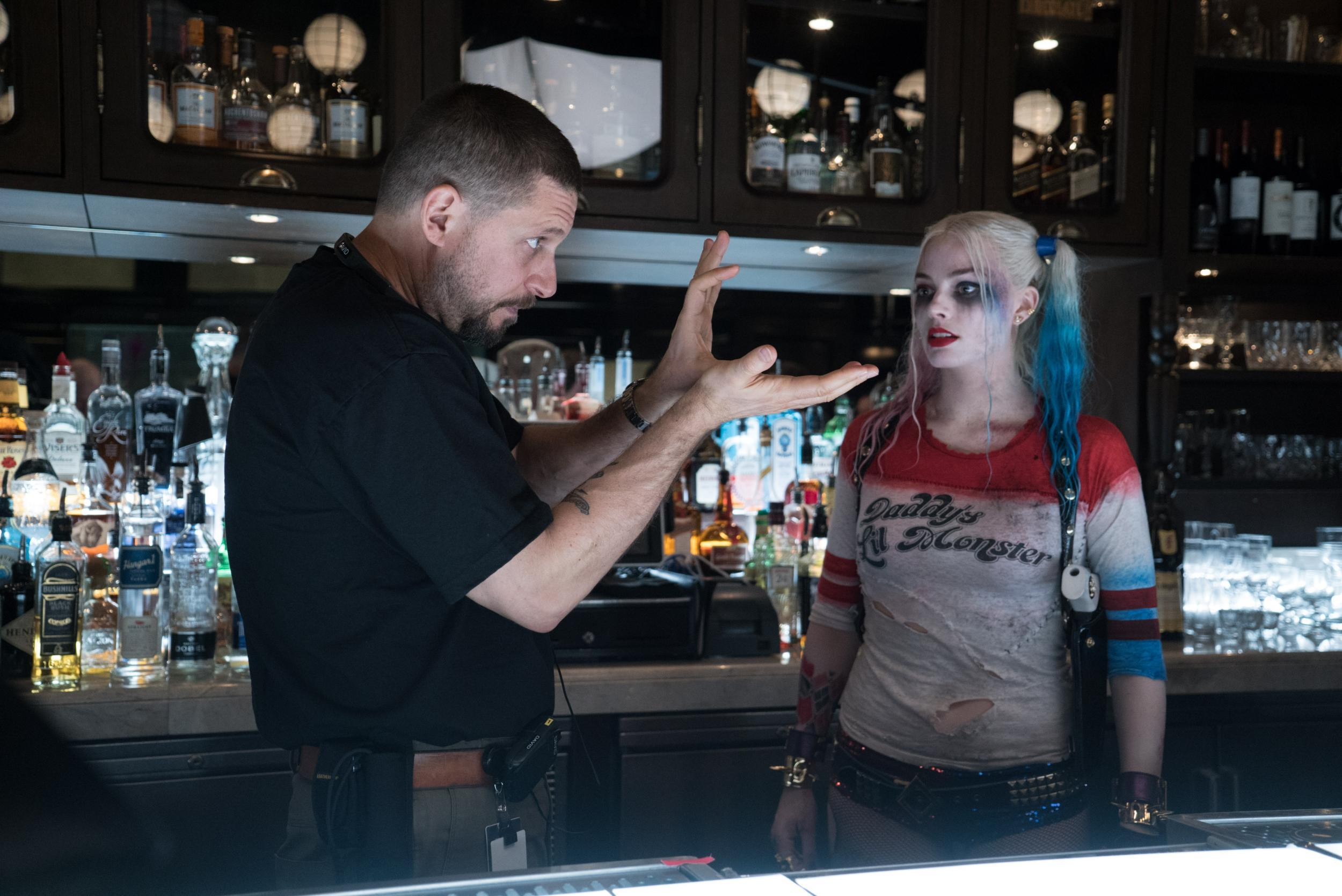 David Ayer and Margot Robbie on Suicide Squad Set